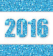 Illustration Shiny Blue Poster With Lights And Sparkles For Happy New Year 2016 - Vector