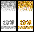 Illustration Shiny Festive Postcards With Snowflakes And Sparkles For Happy New Year 2016 - Vector
