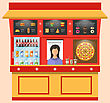 Illustration Showcase Shop Of Fast Food With Seller, Modern Simple Design - Vector