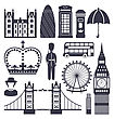 Illustration Silhouette Symbols Of Great Britain Kingdom, Big Ben, Tower Bridge, Queen, Queen's Guard, Crown, Wheel, Bus, Telephone Box, Post Box, Umbrella, Isolated On White Background - Vector