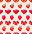 Illustration Simple Seamless Wallpaper With Hearts And Strawberry For Valentines Day. Beautiful Pattern - Vector