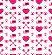 Illustration Simple Seamless Wallpaper With Traditional Objects And Elements For Valentines Day. Beautiful Pattern - Vector