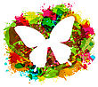 Illustration Simple White Butterfly On Colorful Grunge Damage Frame - Vector