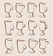 Illustration Sketch Set Coffee And Latte Cups Design Elements - Vector