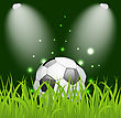 Illustration Soccer Ball On Green Grass With Light - Vector