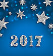 Illustration Starry Silver Background For Happy New Year 2017, Glittering Luxury Wallpaper - Vector