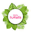 Illustration Summer Beautiful Card With Green Tropical Leaves For Design - Vector