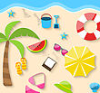 Illustration Summer Time Background, Flat Colorful Icons On The Beach - Vector