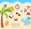 Illustration Summer Time Background With Flat Set Colorful Simple Icons On The Beach - Vector