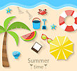 Illustration Summer Time With Flat Set Colorful Simple Icons On The Beach - Vector