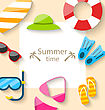 Illustration Summer Traveling Card With Beach Accessories - Vector