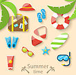 Illustration Summer Vacation Time With Flat Set Colorful Simple Icons - Vector