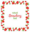 Illustration Sweet Frame Made Of Strawberry Isolated On White Background - Vector