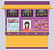Illustration Sweet Shop With Cakes, Ice Creams, Muffins, Cupcakes, Coffee - Vector