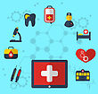 Illustration Tablet Pc With Medical Icons For Web Design, Modern Flat Style - Vector