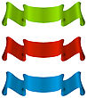 Illustration Three Colorful Ribbon Tape Isolated On White Background - Vector