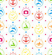 Illustration Travel Seamless Pattern With Colorful Elements, Vacation Background - Vector
