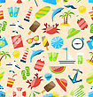 Illustration Travel Seamless Pattern With Tourism Objects And Equipments, Colorful Flat Icons - Vector