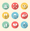 Illustration Trendy Flat Icons For Valentines Day, Style With Long Shadows - Vector