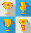 Illustration Trophy Flat Icons Set Of Success Award Reward Winner, Long Shadow Style - Vector