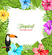 Illustration Tropical Background With Toucan Bird, Colorful Hibiscus Flowers Blossom And Green Leaves - Vector