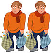 Illustration Of Two Cartoon Male Characters Isolated On White. Happy Cartoon Man Standing In Orange Sweater With Grocery Bags