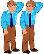 Illustration Of Two Cartoon Male Characters Isolated On White. Happy Cartoon Man Standing In Blue Shirt And Tie stock illustration