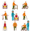 Illustration Various Degrees Of Injuries And Disabilities. Older Women And Men With A Stick, Stilts, In A Wheelchair. Colorful Icons Isolated On White Background - Vector