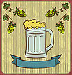 Illustration Vintage Card With Glass Mug Beer - Vector