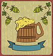 Illustration Vintage Card With Wooden Mug Beer - Vector stock vector