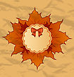 Illustration Vintage Greeting Card With Autumn Maple Leaves - Vector