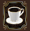 Vintage Label For Wrapping Coffee Background With Coffee Cup