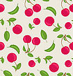 Illustration Vintage Seamless Wallpaper Of Cherries With Green Leaves - Vector