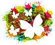 Illustration White Butterflies On Colorful Grunge Texture - Vector