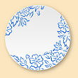 Illustration White Plate With Hand Drawn Floral Ornament, Empty Ceramic Plate - Vector