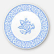 Illustration White Plate With Hand Drawn Floral Ornament Bezel - Vector