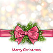 Illustration Winter Elegant Background With Pink Bow Ribbon And Green Pine Branches - Vector