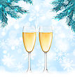 Illustration Winter Holiday Background With Glasses Of Champagne And Fir Branches - Vector