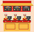 Illustration Workers With Cash Register In Cafe With Fast Food - Vector