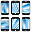 Illustrations Abstract Splash Screens For Mobile Phones App With Different Wave Backgrounds - Vector