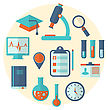 Illustrations Concept Of Management Medical Science Research, Set Flat Icons - Vector