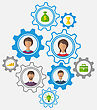 Illustrations Idea Of Teamwork And Success, Business People Enclosed In Cogwheels - Vector