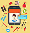 Illustrations Woman Buys Cosmetic Merchandises In Online Store. E-commerce Concept - Vector