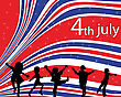 Independence Day Background With Children Silhouettes