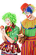 Inequity In The World Of Clowns. stock photo