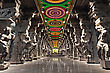Inside Of Meenakshi Hindu Temple In Madurai, Tamil Nadu, South India. Religious Hall Of Thousands Of Columns stock image