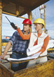 Various Professions Inspecting the Construction Site stock photography