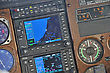 Instrument Panel Of A Light Aircraft Showing Approach To Greymouth, New Zealand stock photography