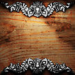 Iron Ornament On Wood Made In 3D stock illustration