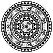 Islam, Arabic, Indian, Ottoman Motifs. Monochrome Contour Mandala Isolated On White Background. Ethnic Amulet Of Mandala